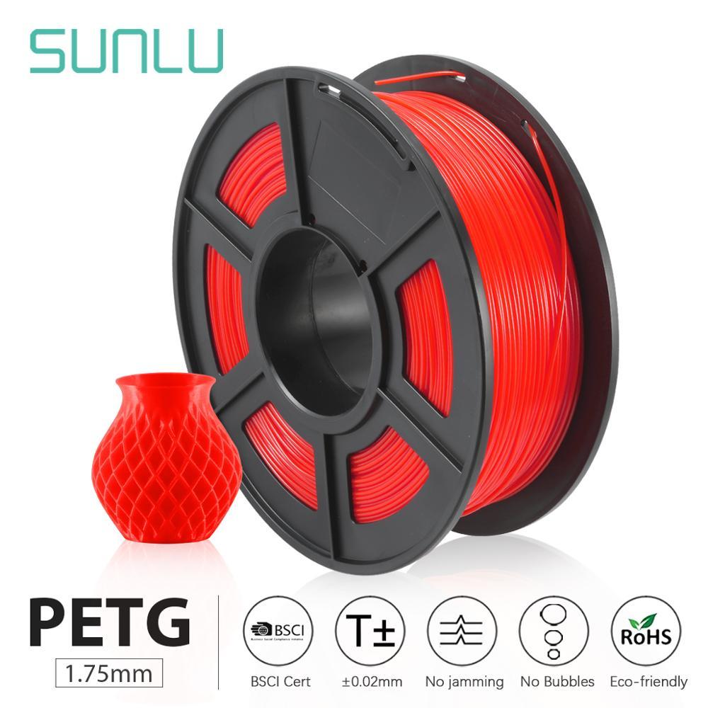 SUNLU PETG 3D Printer Filament 1.75mm full color Transparent Plastic Tolerance+/-0.02mm for teenages explore imagination пластик