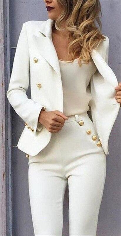 الأبيض يتأهل بانت الدعاوى سترة + السراويل سيدات الأعمال بذلات السترة الرسمي السيدات مكتب موحد نمط الإناث بنطلون PantSuit