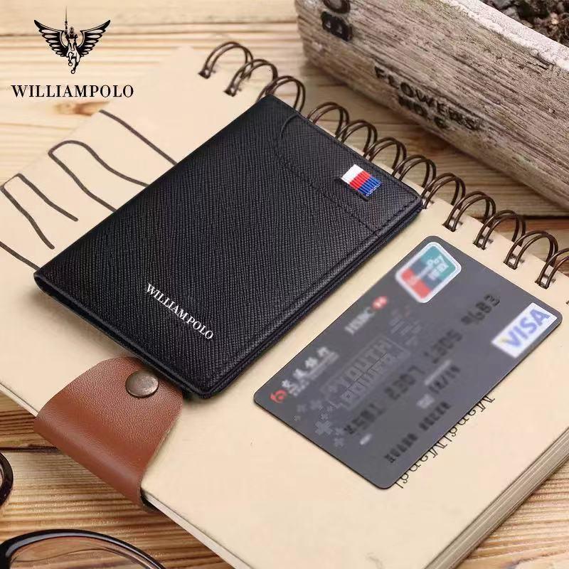 Мужской кошелек из натуральной кожи William Polo, тонкий мини-кошелек, роскошный брендовый кожаный бумажник с клипсой для карт, мужской короткий кошелек в стиле ретро