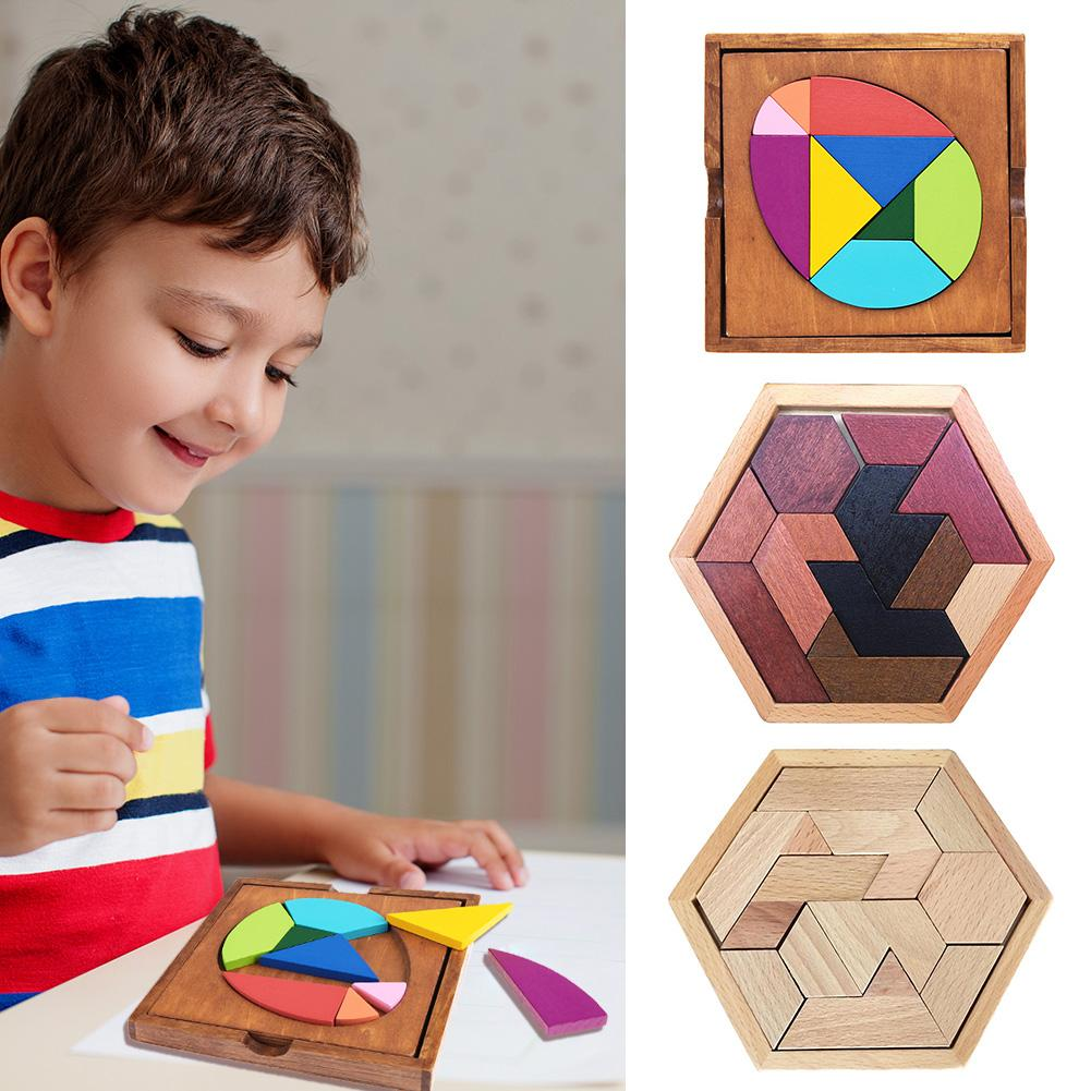 Baby Wooden Board Puzzles Game Toys Tangram Early Learning Eaducational Toys for Kids Children New Year Gifts