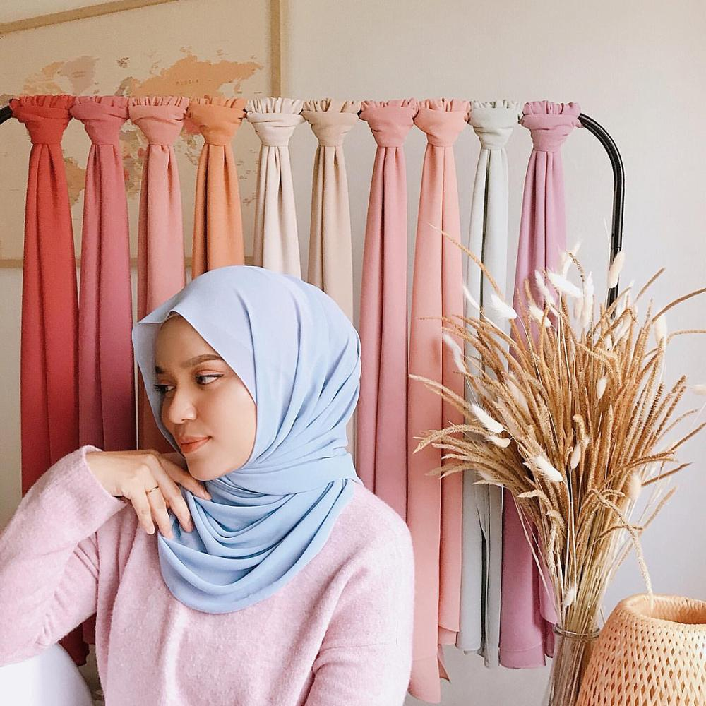Wome's Scarves Malaysian Muslim Hijabs Wraps Pearl Chiffon Plain Solid Color Arab Modest Headscarf R