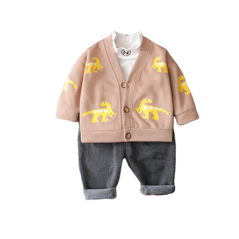 New Autumn Baby Boys Clothes Suit Children Cartoon Jacket T-Shirt Pants 3Pcs/Sets Spring Toddler Cas