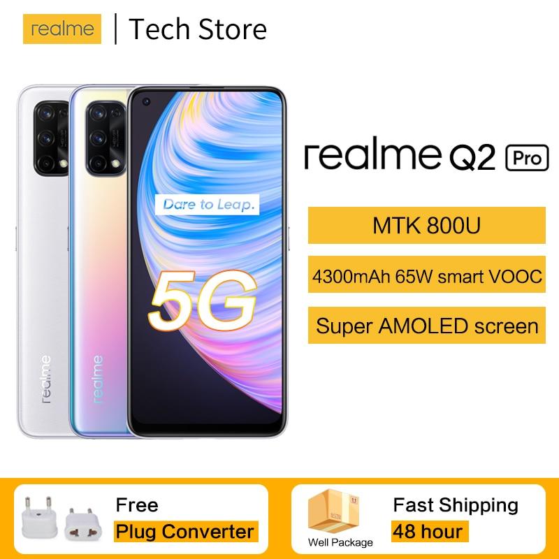 Перейти на Алиэкспресс и купить Realme Q2 Pro 5G Celular 65 Вт VOOC SuperAMOLED Экран 8 ГБ 128 MTKDimensity 800U 48MP ультра-прозрачная четыре камеры мобильного телефона Android