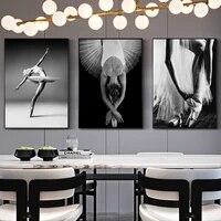 Affiche de danse de Ballet de Style nordique  affiche modulaire en noir et blanc  peinture sur toile  Art mural frais pour la maison  decoration de salon