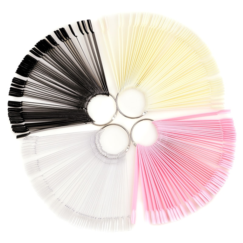 50/ Color card fan round head nail glue color plate display color test Nail Art Tips For Gel Polish Practice Tools Manicure