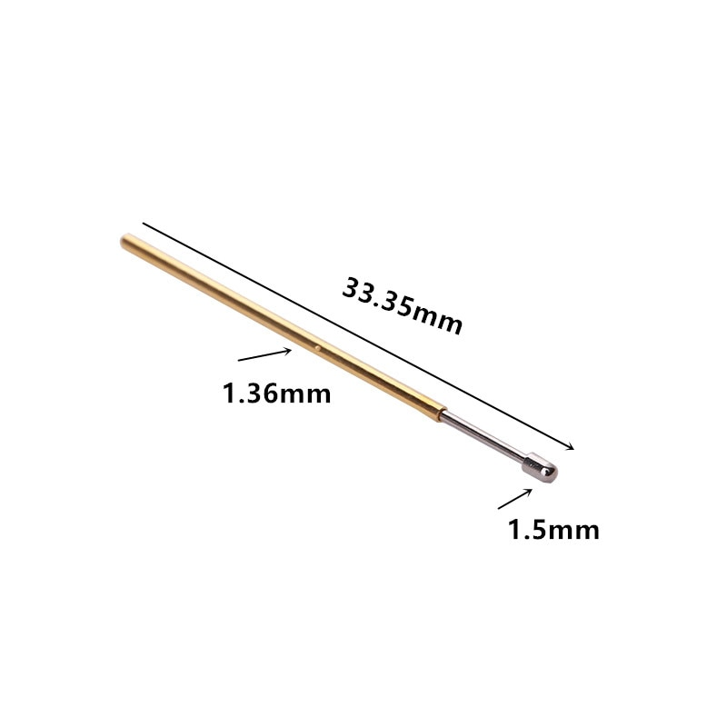 100pcs/packing P100-D2 Big Round Head Spring Test Probe Outer Diameter 1.36mm Length 33.35mm Pogo Pin  - buy with discount