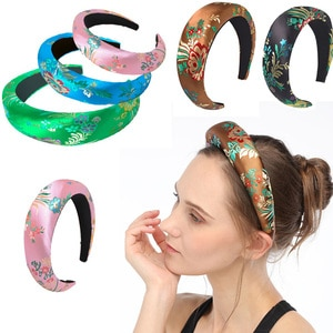 Personalized embroidery headband with higt rim Chinese Tang style new year chrismas womens hair band hairhands girl's head band