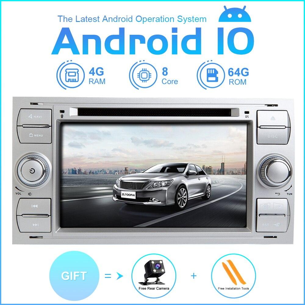 ZLTOOPAI reproductor de DVD del coche Android 10 para Ford Focus Mondeo S-Max C-Max Galaxy coche GPS Radio reproductor Multimedia 8 Core ROM 64GB