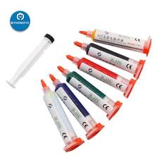 PHONEFIX 6 couleurs UV durcissable masque de soudure PCB peinture flux de soudure huile avec tête daiguille pour la protection de carte de téléphone