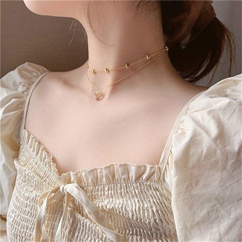 Colar feminino com corrente de camada dupla, gargantilha de coração com corrente dourada estilo coreano, joia estética, 2020