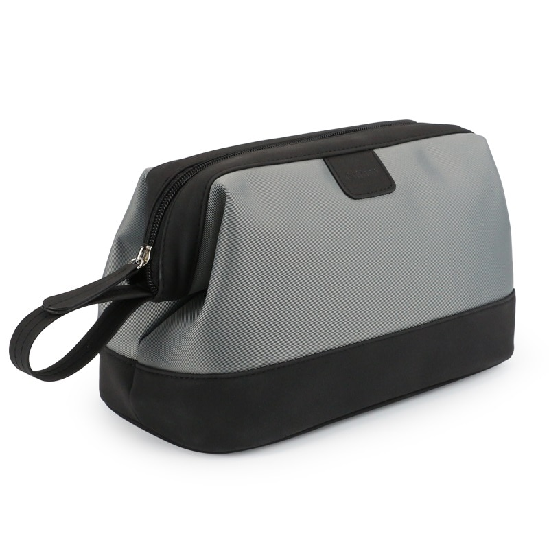 Portable Men Cosmetic Bag Business Travel Waterproof Leather Large Capacity Shaving Makeup Bag