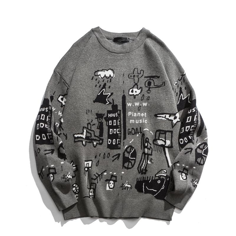 Men's Sweater 2020 New Spring Fashion Print Cartoon Sweater Pull Homme Casual Loose Vintage Pullover Sweater Men Round Neck
