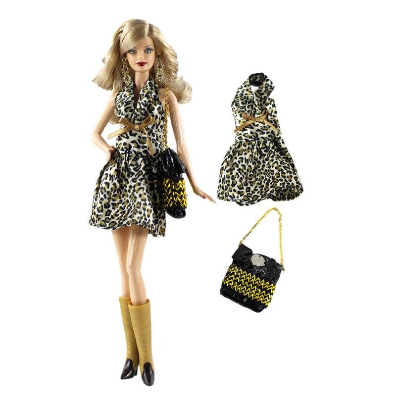 Moda leopardo Vintage vestido de traje conjuntos para Barbie BJD FR ropa...