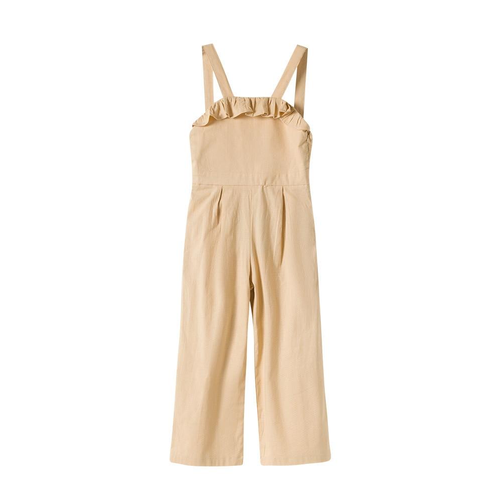 Ruffle Girls Overalls Zipper Side Casual Teen Girls Jumpsuit 2020 Summer Fashion Wide Leg Long Rompers Kids Outwear 4 6 8 10 12