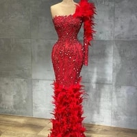 one shoulder red evening dresses luxury feathers crystal mermaid prom gowns formal party dress