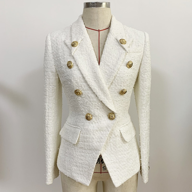 HIGH STREET Newest Fall Winter 2021 Designer Jacket Women's Double Breasted Lion Buttons Slim Fitting Tweed Blazer