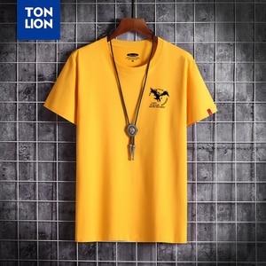 Little P Eagle Print Men T-shirts Summer High Quality Black Tops 100% Cotton 2020 New Brand Teeshirt Round Neck Gray Tee