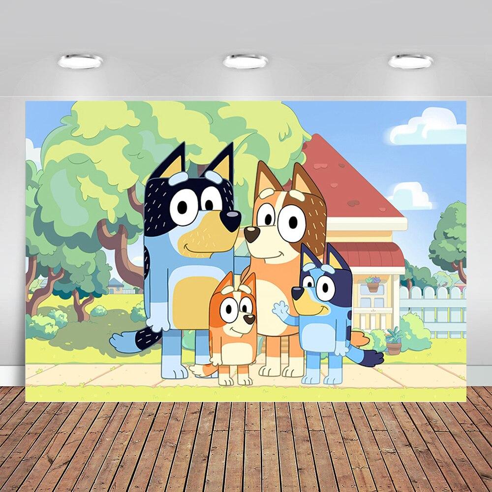 Вечерние фоны для студийной фотосъемки Sheepdog Bluey с рисунками из мультфильмов для детей на первый день рождения вечерние фоны для фотосъемки