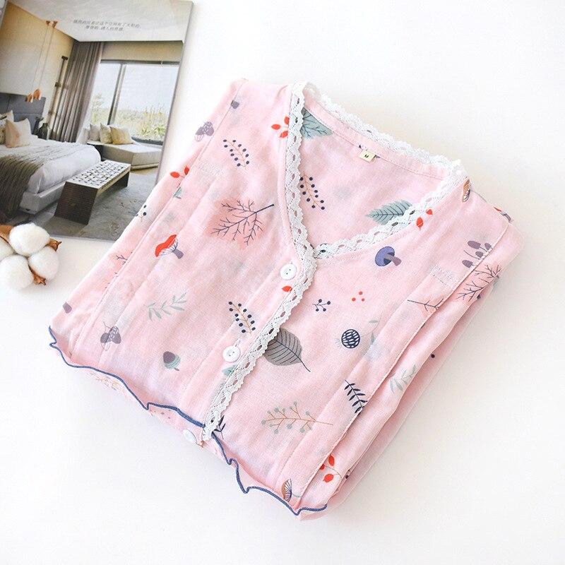 Fdfklak Pregnancy Pijama Pink/White Print Breast-Feeding Maternity Sleepwear Spring Autumn Cotton Home Clothes Nursing Pajama enlarge