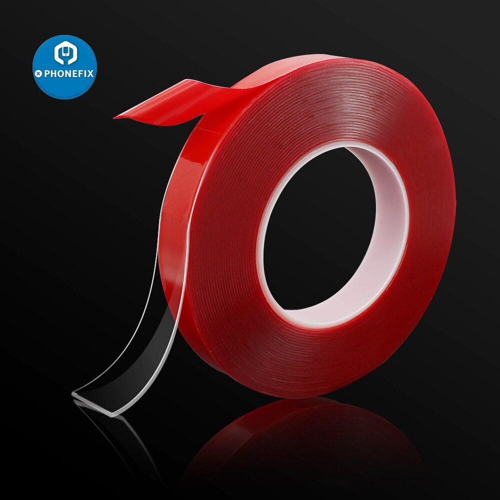 Cinta adhesiva de doble cara PET cinta de película roja fuerte sin rastro 3/5/8/10/15/20mm 10M para teléfono tableta LCD pantalla PC LCD cristal