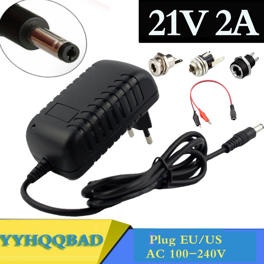21V 2A 18650 Lithium Battery Charger 18V lithium battery Charger 5.5mm x 2.1mm DC Power Jack Socket