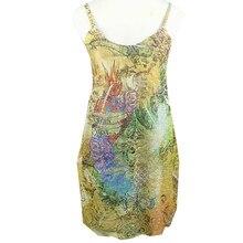 TC Boho Summer Girls Kids Beach Dress Sleeveless Sling High Waist Bandage Sundress Girl Backless Swing Printing with suspender