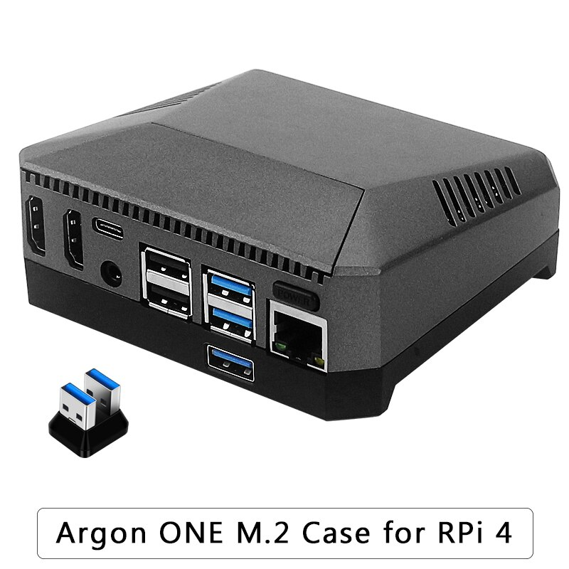 Argon One M.2 Aluminum Case for Raspberry Pi 4 Model B with M.2 SSD Expansion Slot GPIO Cover Cooling Fan for Raspberry Pi 4