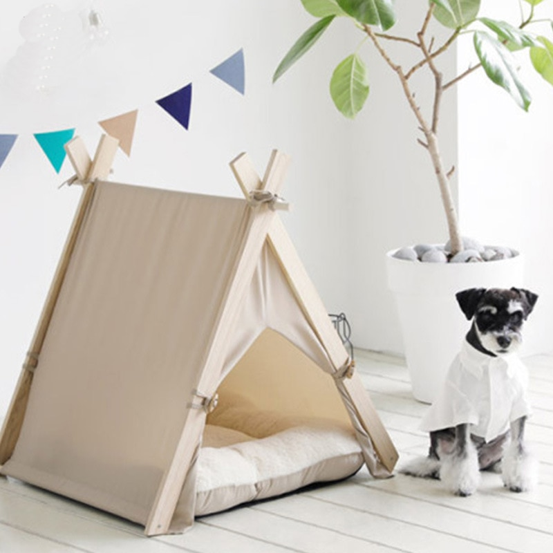 Portable Wood Pet Tent Dog House Cat House Washable Triangle Teepee Tent Outdoor  Indoor Puppy Cat Travel Teepee Cave with Mat