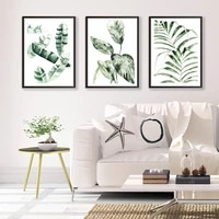 scandinavian watercolor green plant poster palm banana leaf picture modern wall art print canvas painting living room home decor