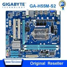 GIGABYTE GA-H55M-S2 carte mère de bureau H55 H55M Socket LGA 1156 i3 i5 i7 DDR3 VGA 8G micro-atx Original utilisé carte mère H55M-S2