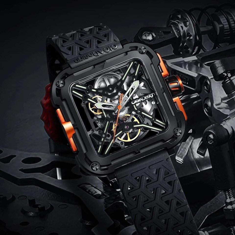 Часы серии X, автоматические механические наручные часы-скелетоны из нержавеющей стали CIGA Design (с силиконовым и нейлоновым ремешком)