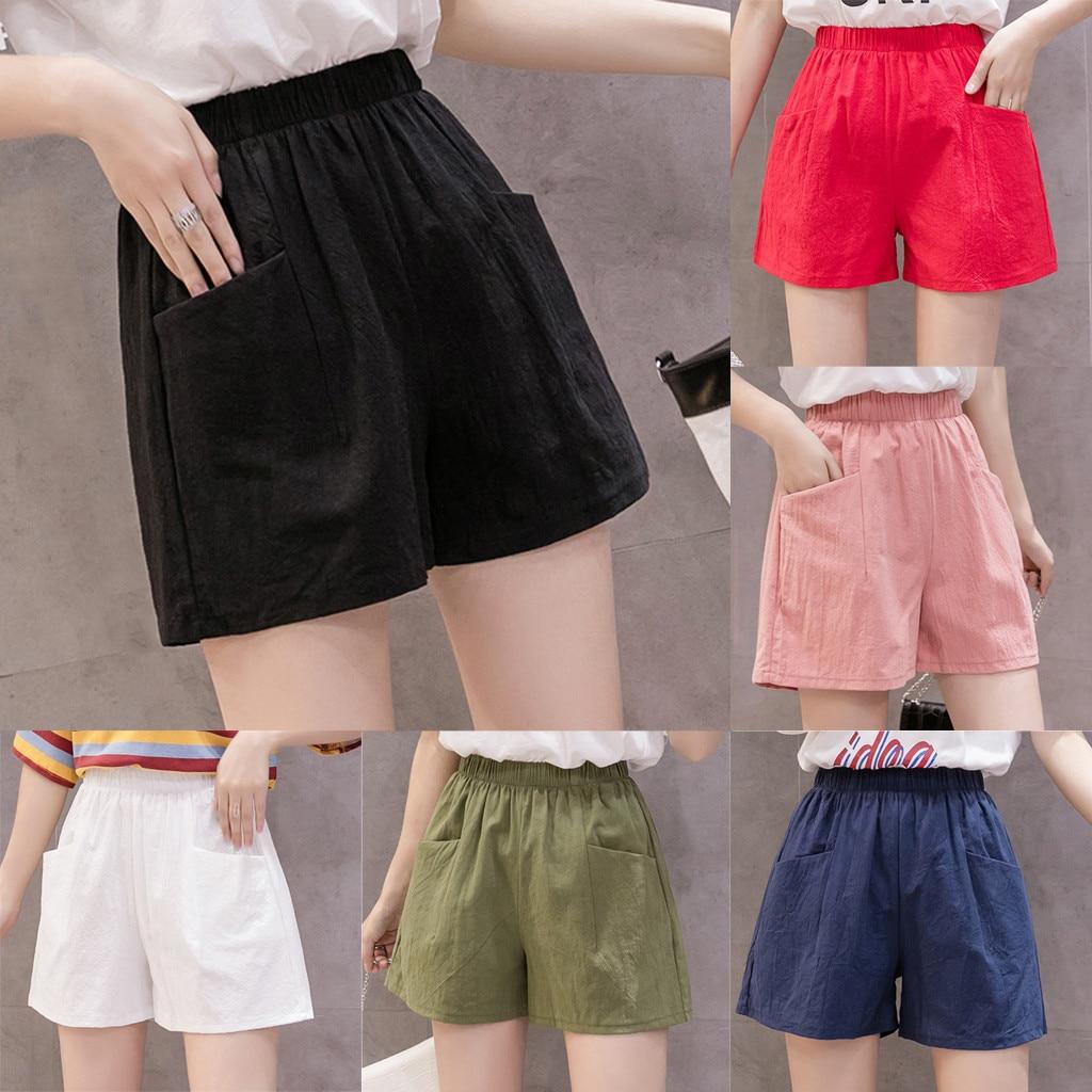 Women's Shorts Harajuku High Waist Linen Loose Casual Thin Wide Leg Linen Shorts Summer Pockets Korean Style Sweet Ladies#g2