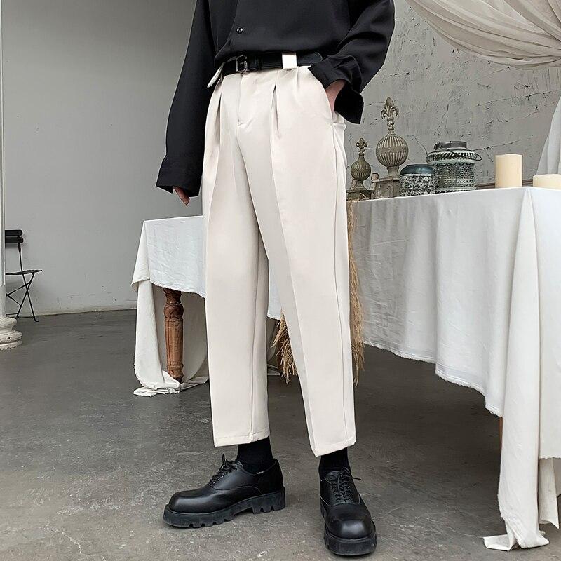Черные, серые, абрикосовые Костюмные брюки, мужские облегающие модные деловые, мужские строгие брюки, корейские свободные прямые брюки, муж...