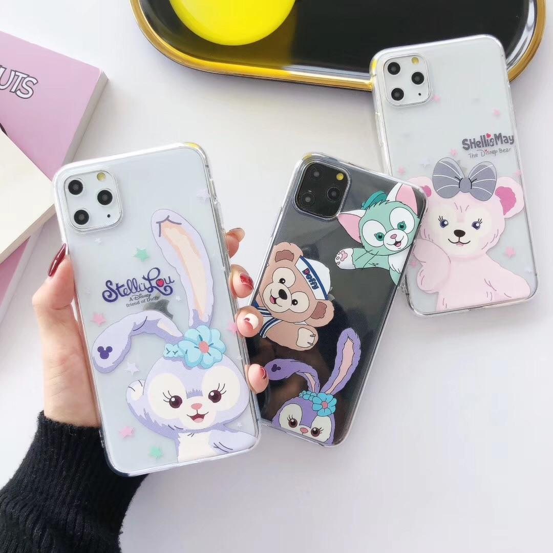 Cute amor conejo niñas oso pequeño INS funda de teléfono para iPhone 11 Pro XS X Max Xr 8 7 6 s Plus dibujos animados TPU espalda blanda