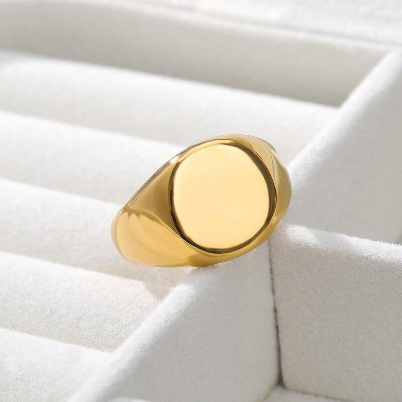 1997 simples redondo ouro polido punk masculino anel de aço inoxidável cavaleiro discoteca jóias presente nova marca anel