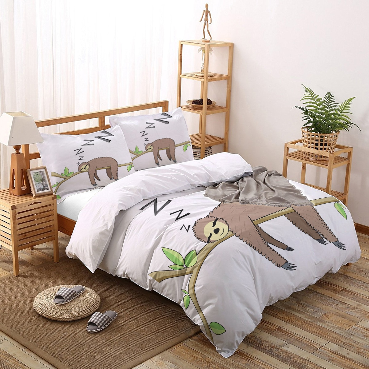 لطيف الحيوان الكسل حاف طقم أغطية طقم سرير الموضة طباعة غطاء لحاف الملكة الملك الحجم الكبار المفارش
