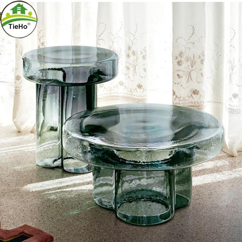 Креативные стеклянные журнальные столики TieHo, мебель для гостиной, современный дизайн, Диванный боковой столик, Круглый Чайный Столик