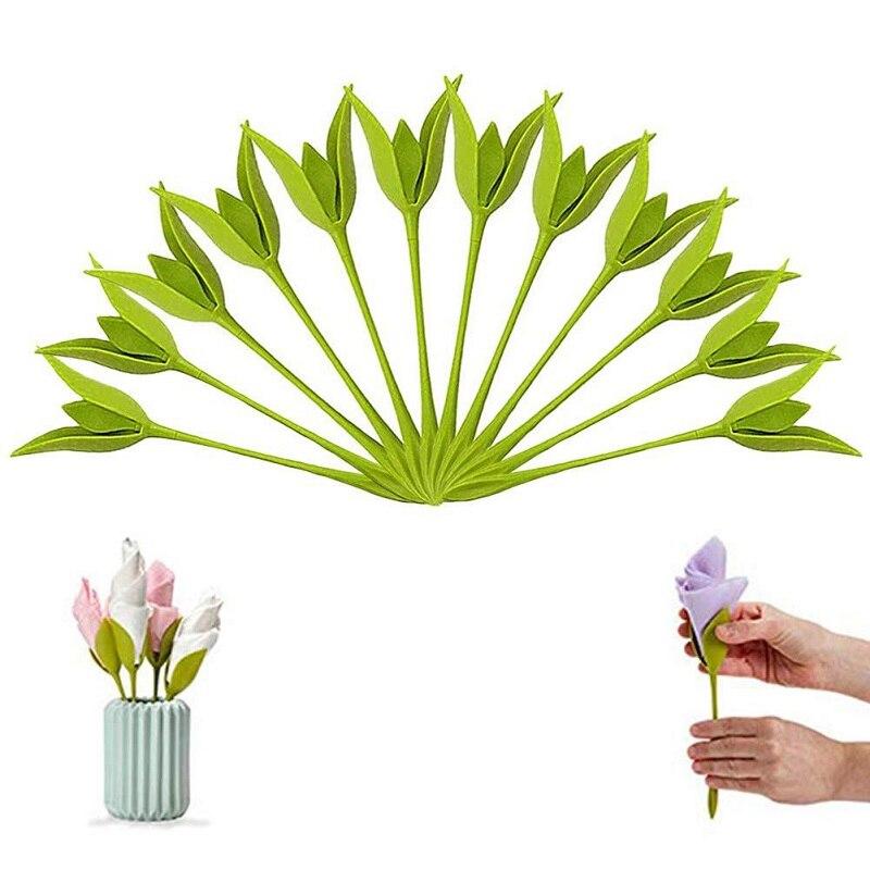 4/8/12Pcs Bloom Napkin Holder Table Plastic Twist Flower Serviette Holder Decor