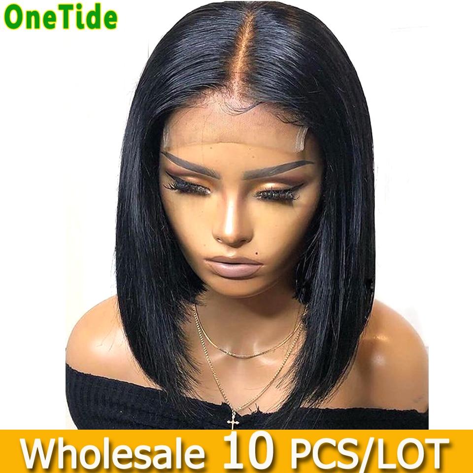 10 шт./лот оптовая продажа прямые синтетические волосы на кружеве парик бразильский предварительно вырезанные короткие боб фронта шнурка че...