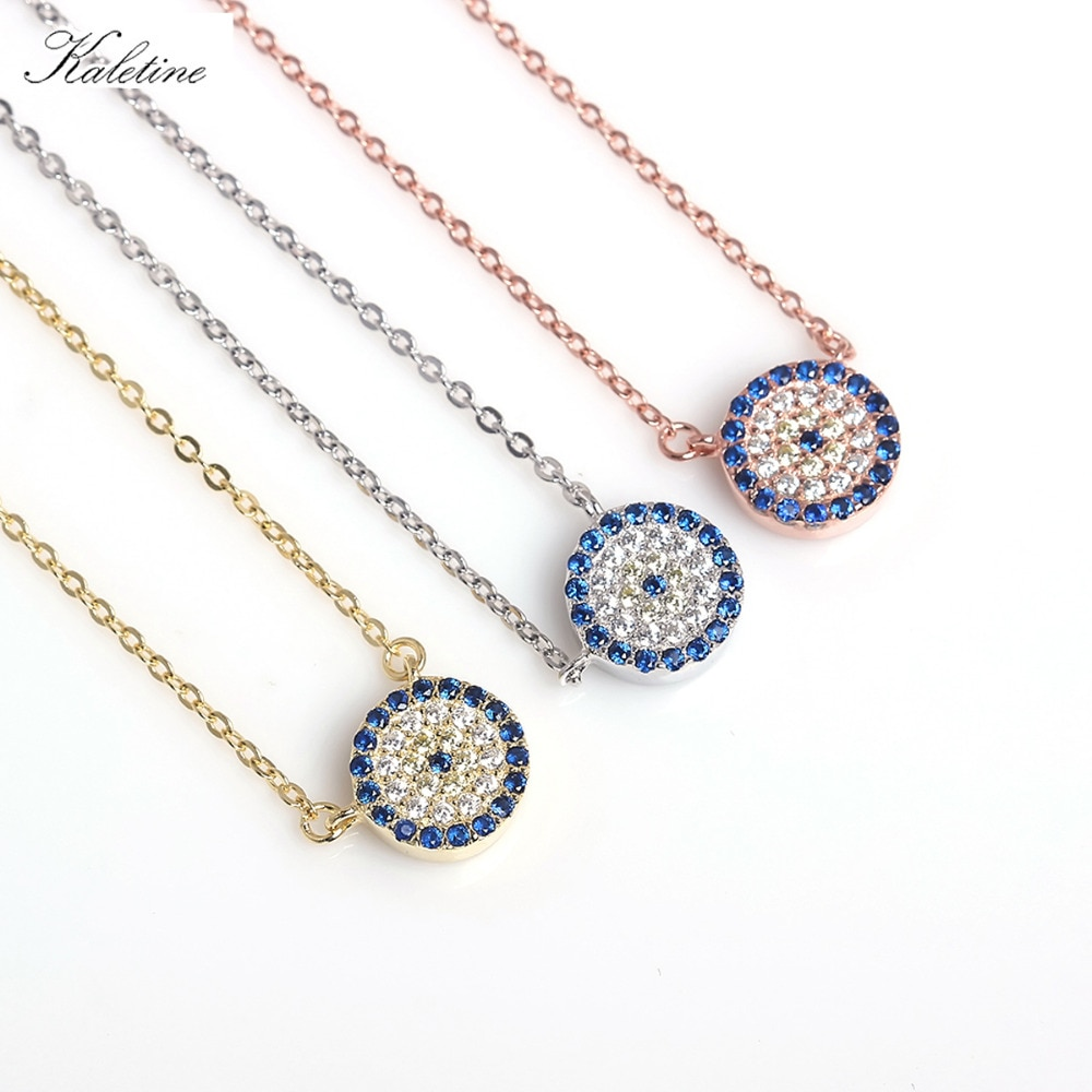 KALETINE Genuine 925 Sterling Silver Necklace Turkey Round Evil Eye Necklaces AAA CZ For Women Link Chain Jewelry 2019 KLTN021