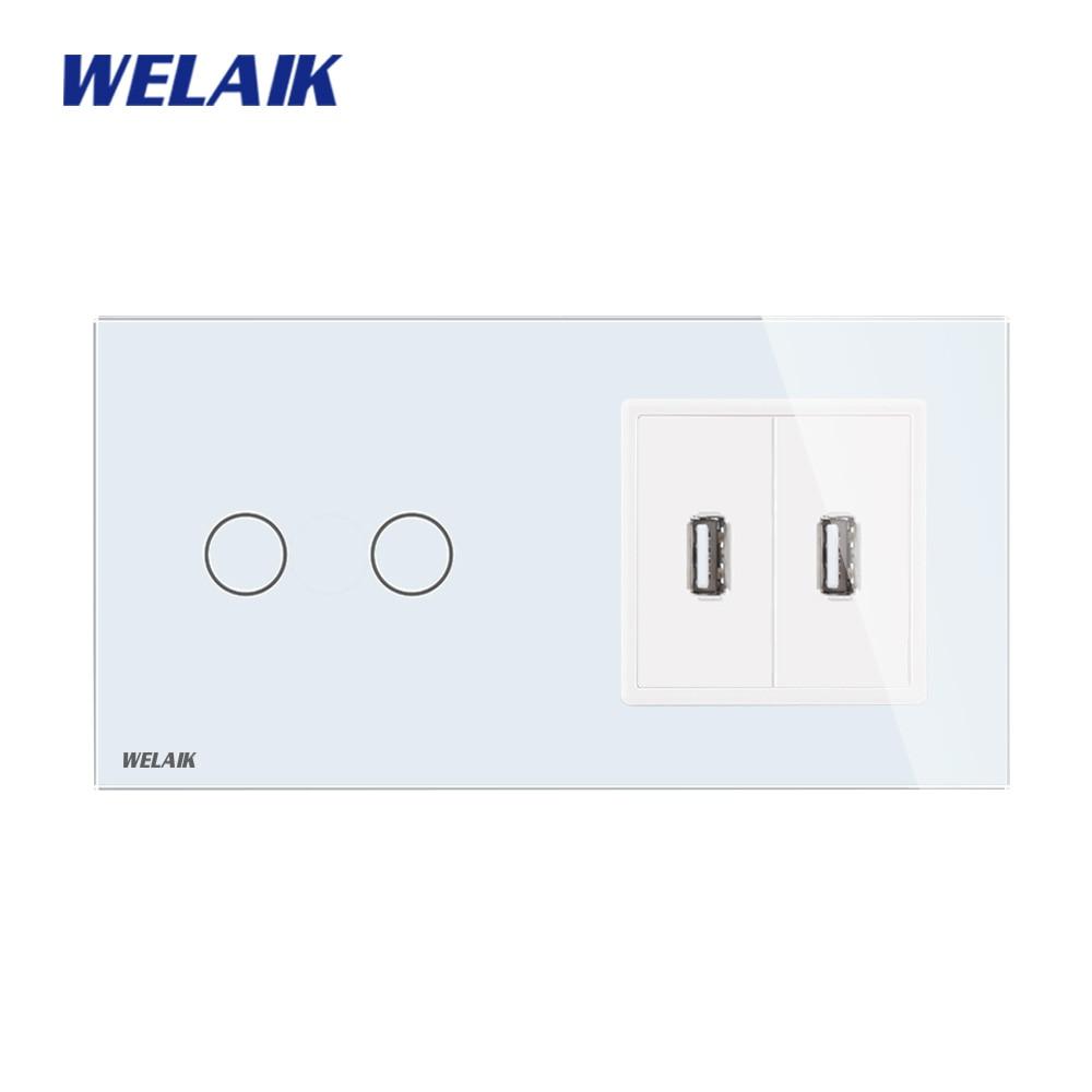 WELAIK 2frame-2gang-1way USB-enchufe-cristal-Panel-pared-interruptor EU Touch-Switch-pantalla AC250V A292182USCW/B