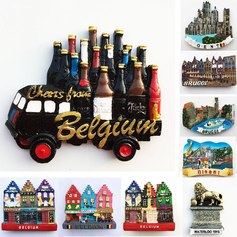 Belgium Ghent Landmark Building fridge magnets Tourism souvenir Painted Magnetic Refrigerator Stickers Collection Decoration south african tourism memorial tree leopard refrigerator