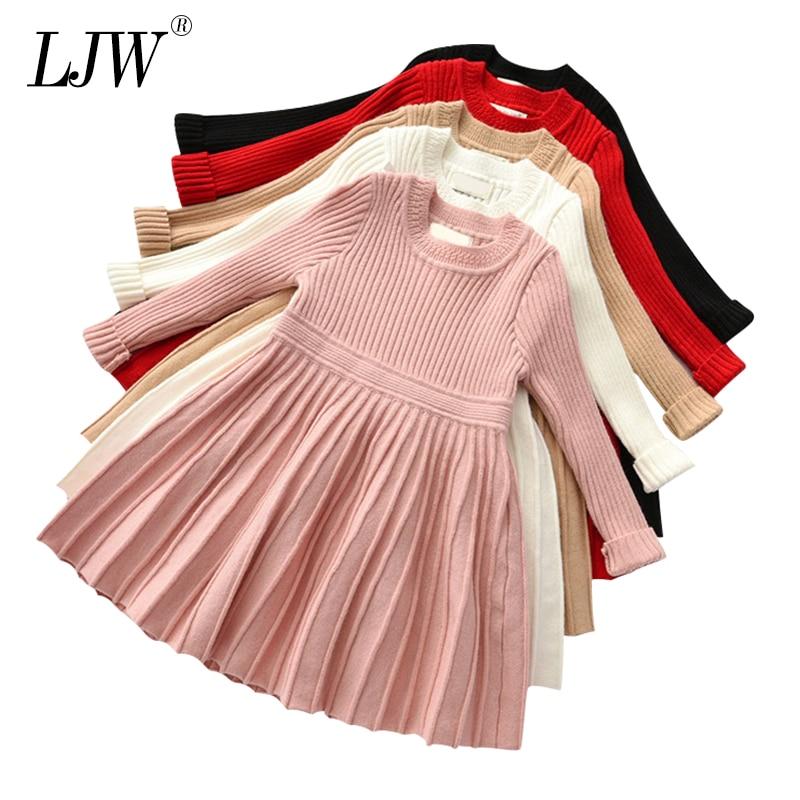 Nuevo vestido de otoño para niñas, de color liso, para fiestas de Navidad, suéter tejido de invierno, vestido para niñas, ropa para niñas y bebés