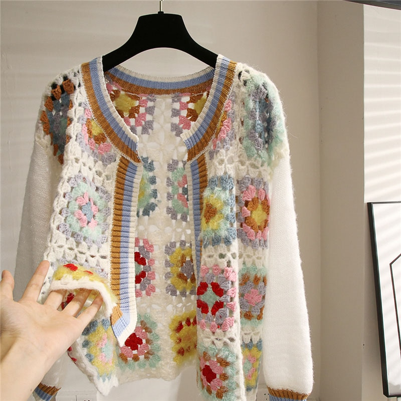 fall fashion long sleeve oversized cardigan vintage hippie sweaters for women ethnic style jacquard hollow out cardigans sweater enlarge