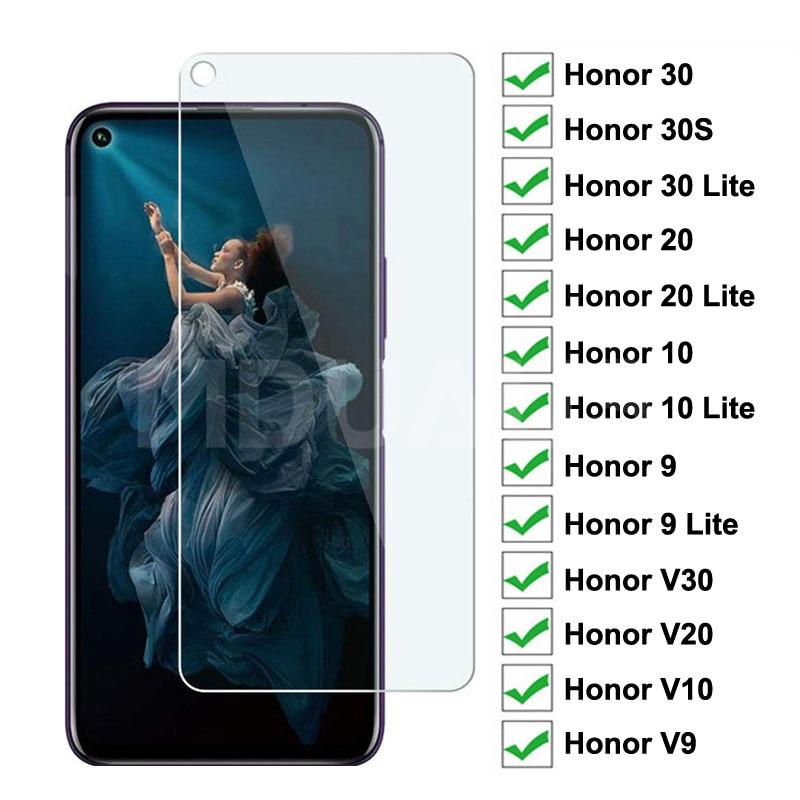 9H Gehärtetem Glas auf die Für Huawei Ehre 30 20 10 9 Lite Schutz Glas Film Honor 30S v30 V20 V10 V9 Screen Protector Glas