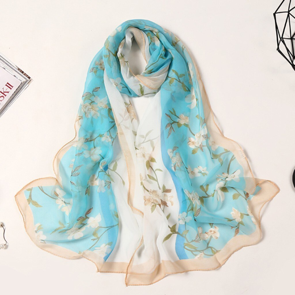 Moda feminina lenços chiffon seda lótus impressão longa macio envoltório cachecol senhoras xale cachecóis senhoras acessórios moda novo #25