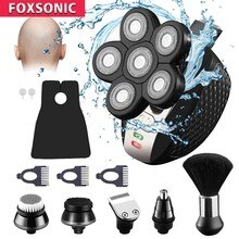 FOXSONIC 2021 NEW 6 in 1 Multifunction Rechargeable Electric Men Electric Shaver 6D Floating Heads B
