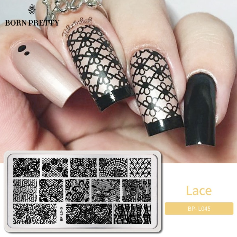 BORN PRETTY dentelle fleur ongle estampage plaque Image timbre modèle papillon 12*6cm Rectangle Nail Art pochoir plaques