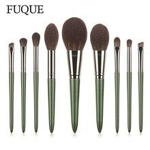 FUQUE 9 Pcs Green Fairy Makeup Brushes High Quality Wool Fiber Professional Foundation Eyeshadow Eye