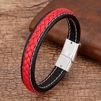 Мужские украшения в стиле панк, красный, черный плетеный кожаный браслет, металлические браслеты с магнитной пряжкой, очаровательные мужск...